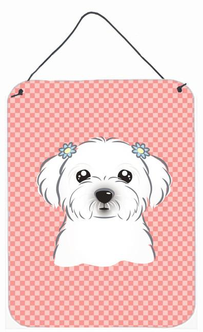 Checkerboard Pink Maltese Wall or Door Hanging Prints BB1208DS1216 by Caroline's Treasures