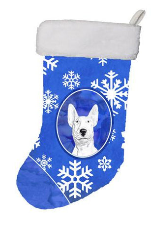 Buy this Bull Terrier Winter Snowflakes Christmas Stocking SC9604-CS