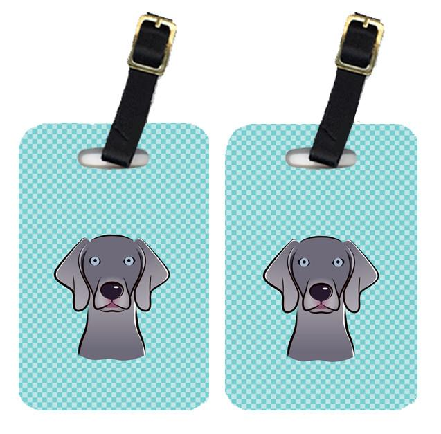 Buy this Pair of Checkerboard Blue Weimaraner Luggage Tags BB1169BT
