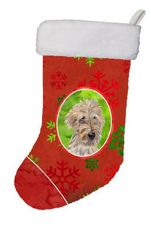 Buy this Golden Doodle Red Snowflakes Holiday Christmas Stocking SC9591-CS