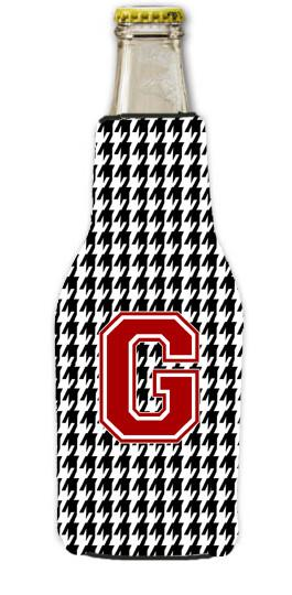 Buy this Houndstooth Black Letter G Monogram Initial Longneck Beer Beverage Insulator Zipper Hugger