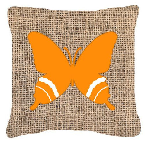 Buy this Butterfly Burlap and Orange   Canvas Fabric Decorative Pillow BB1034