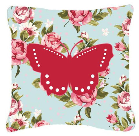 Buy this Butterfly Shabby Chic Blue Roses   Canvas Fabric Decorative Pillow BB1033