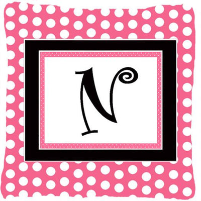 Buy this Letter N Initial Monogram Pink Black Polka Dots Decorative Canvas Fabric Pillow