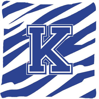 Buy this Monogram Initial K Tiger Stripe Blue and White Decorative Canvas Fabric Pillow