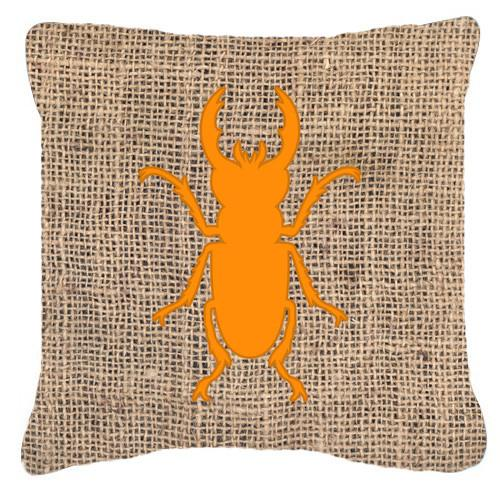 Beetle Burlap and Orange   Canvas Fabric Decorative Pillow BB1063 by Caroline's Treasures