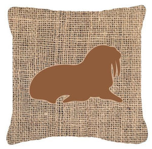 Buy this Walrus Burlap and Brown   Canvas Fabric Decorative Pillow BB1017