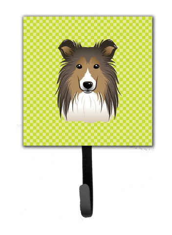 Buy this Checkerboard Lime Green Sheltie Leash or Key Holder BB1304SH4
