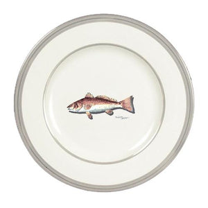 Buy this Fish Red Fish Ceramic - Plate Round Platinum Rim 11 inch 8489-DPPR