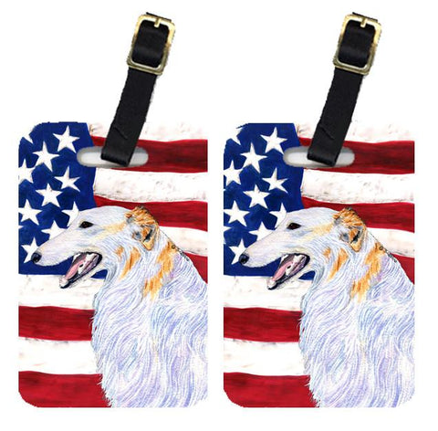 Buy this Pair of USA American Flag with Borzoi Luggage Tags SS4231BT