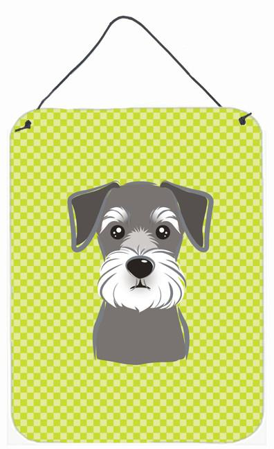 Checkerboard Lime Green Schnauzer Wall or Door Hanging Prints BB1268DS1216 by Caroline's Treasures