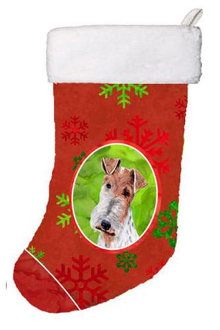 Buy this Wire Fox Terrier Red Snowflakes Holiday Christmas Stocking SC9748-CS