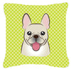 Checkerboard Lime Green French Bulldog Canvas Fabric Decorative Pillow BB1300PW1414 - the-store.com