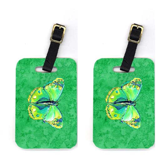 Pair of Butterfly Green on Green Luggage Tags by Caroline's Treasures
