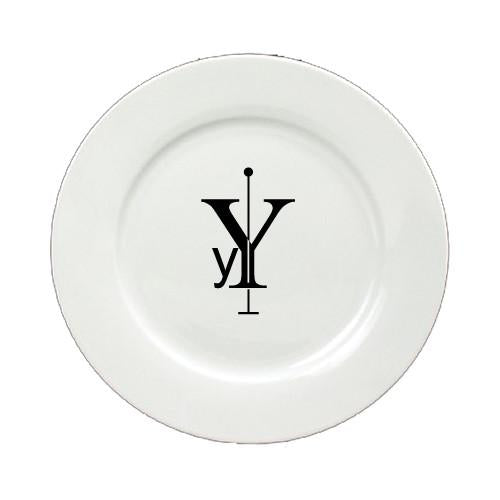 Buy this Letter Y Initial Monogram Modern Round Ceramic White Salad Plate CJ1056-Y-DPW