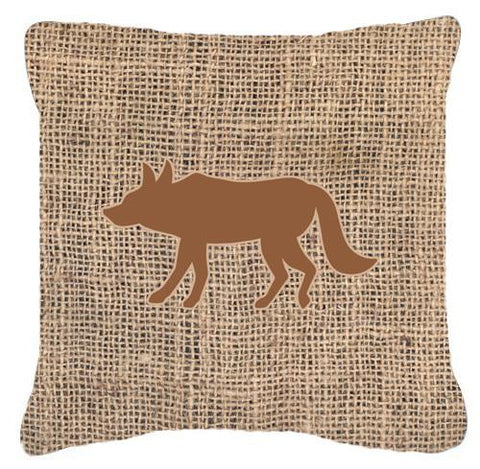 Buy this Wolf Burlap and Brown   Canvas Fabric Decorative Pillow BB1123