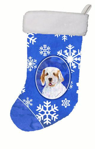 Buy this Clumber Spaniel Winter Snowflakes Christmas Stocking SS4638