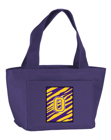 Buy this Letter O Monogram - Tiger Stripe - Purple Gold Lunch Bag or Doggie Bag CJ1022-O-PR-8808