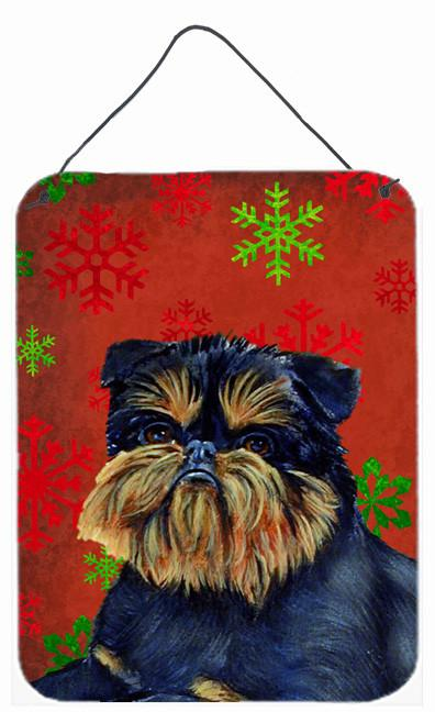 Brussels Griffon Red Snowflakes Holiday Christmas Wall or Door Hanging Prints by Caroline's Treasures