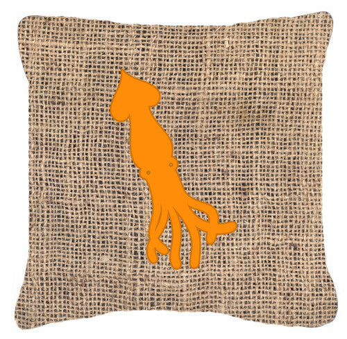 Buy this Squid Burlap and Orange   Canvas Fabric Decorative Pillow BB1096
