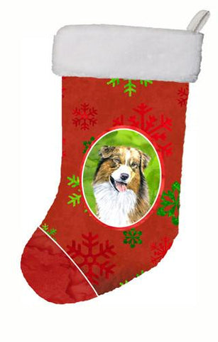Buy this Australian Shepherd Red and Green Snowflakes Holiday  Christmas Stocking SC9437