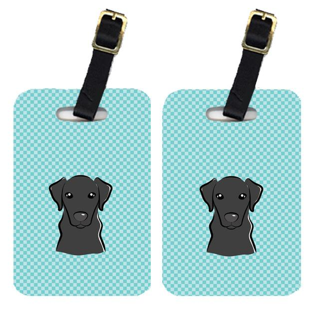Pair of Checkerboard Blue Black Labrador Luggage Tags BB1173BT by Caroline's Treasures