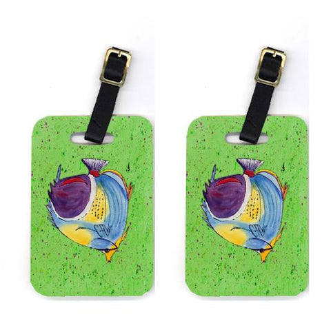 Buy this Pair of Tropical Fish on Green Luggage Tags