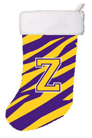 Buy this Tiger Stripe - Purple Gold Initial Z Monogram Initial Christmas Stocking