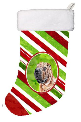 Buy this Shar Pei Candy Cane Christmas Christmas Stocking SC9791-CS