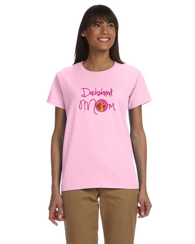 Buy this Pink Red Smooth Dachshund Mom T-shirt Ladies Cut Short Sleeve 2XL