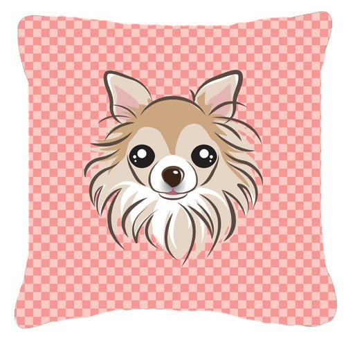 Checkerboard Pink Chihuahua Canvas Fabric Decorative Pillow BB1251PW1414 - the-store.com