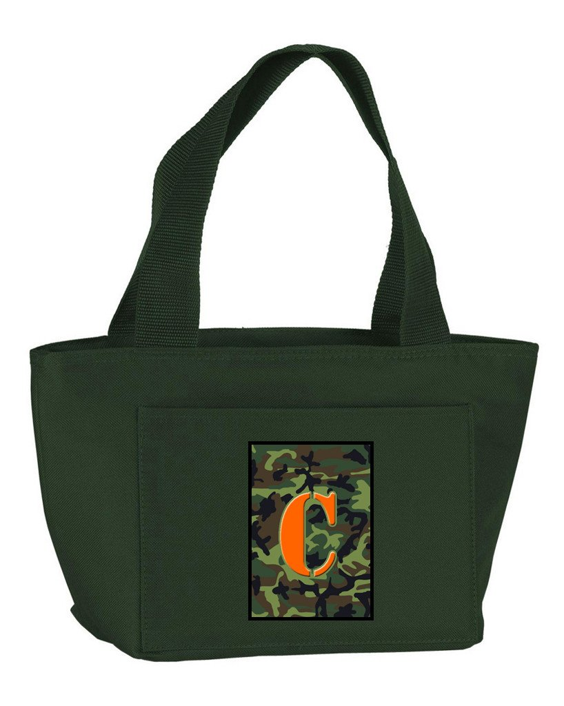 Buy this Letter C Monogram - Camo Green Zippered Insulated School Washable and Stylish Lunch Bag Cooler CJ1030-C-GN-8808