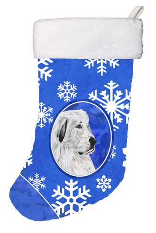 Buy this Great Pyrenees Winter Snowflakes Christmas Stocking SC9786-CS