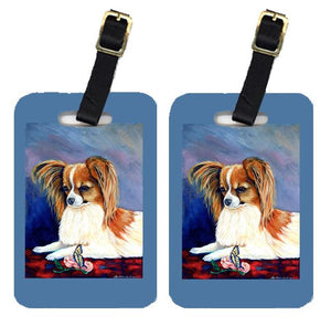 Buy this Pair of 2 Sable Papillon with a Butterfly and rose Luggage Tags