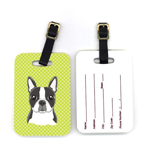 Pair of Lime Checkered Boston Terrier Luggage Tags BB1139BT by Caroline's Treasures