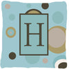Buy this Monogram - Initial H Blue Dots Decorative   Canvas Fabric Pillow CJ1013