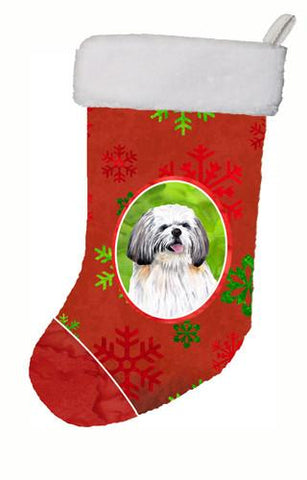 Buy this Shih Tzu Red and Green Snowflakes Holiday Christmas Christmas Stocking SC9423