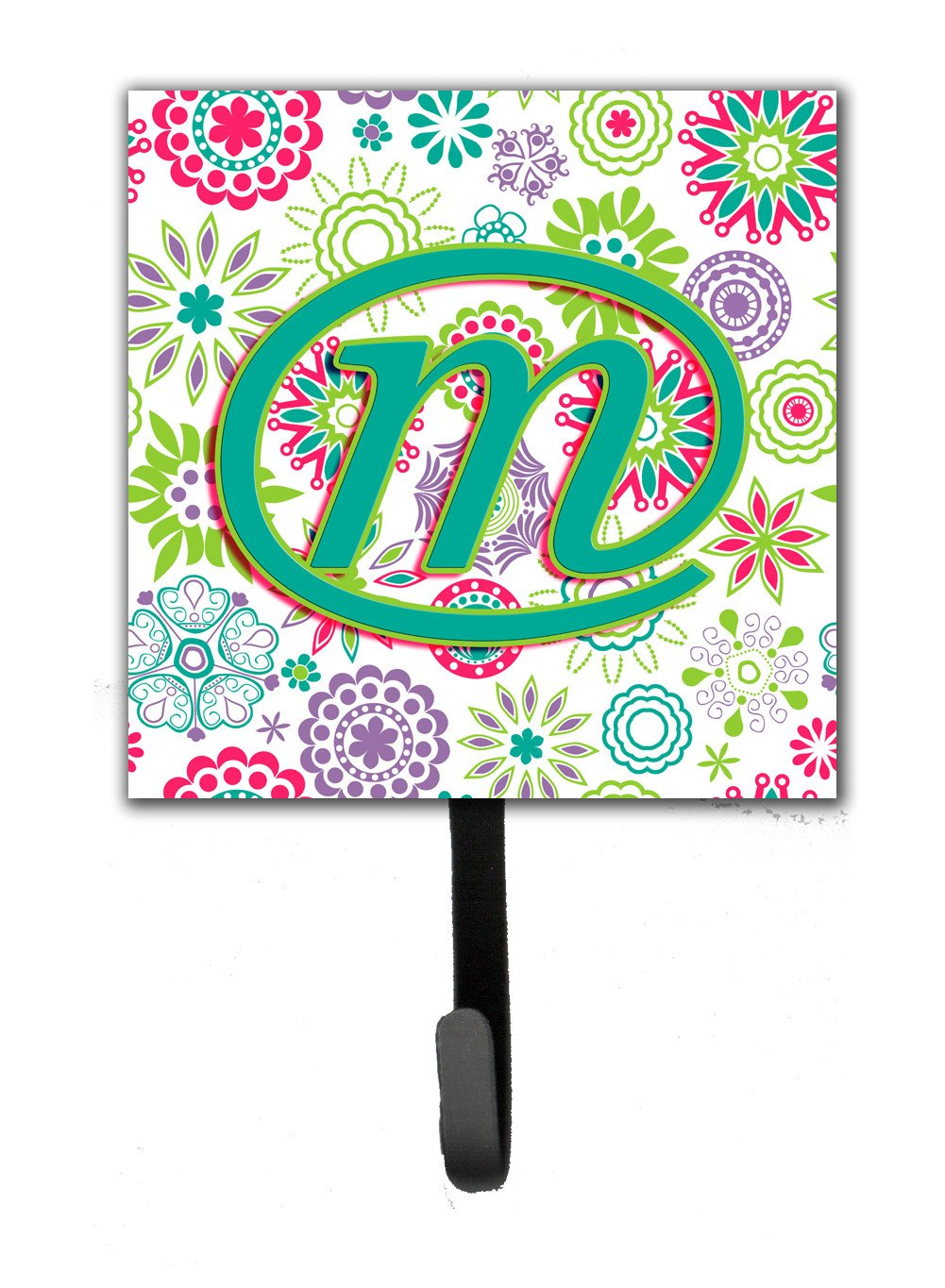 Letter M Flowers Pink Teal Green Initial Leash or Key Holder CJ2011-MSH4 by Caroline's Treasures