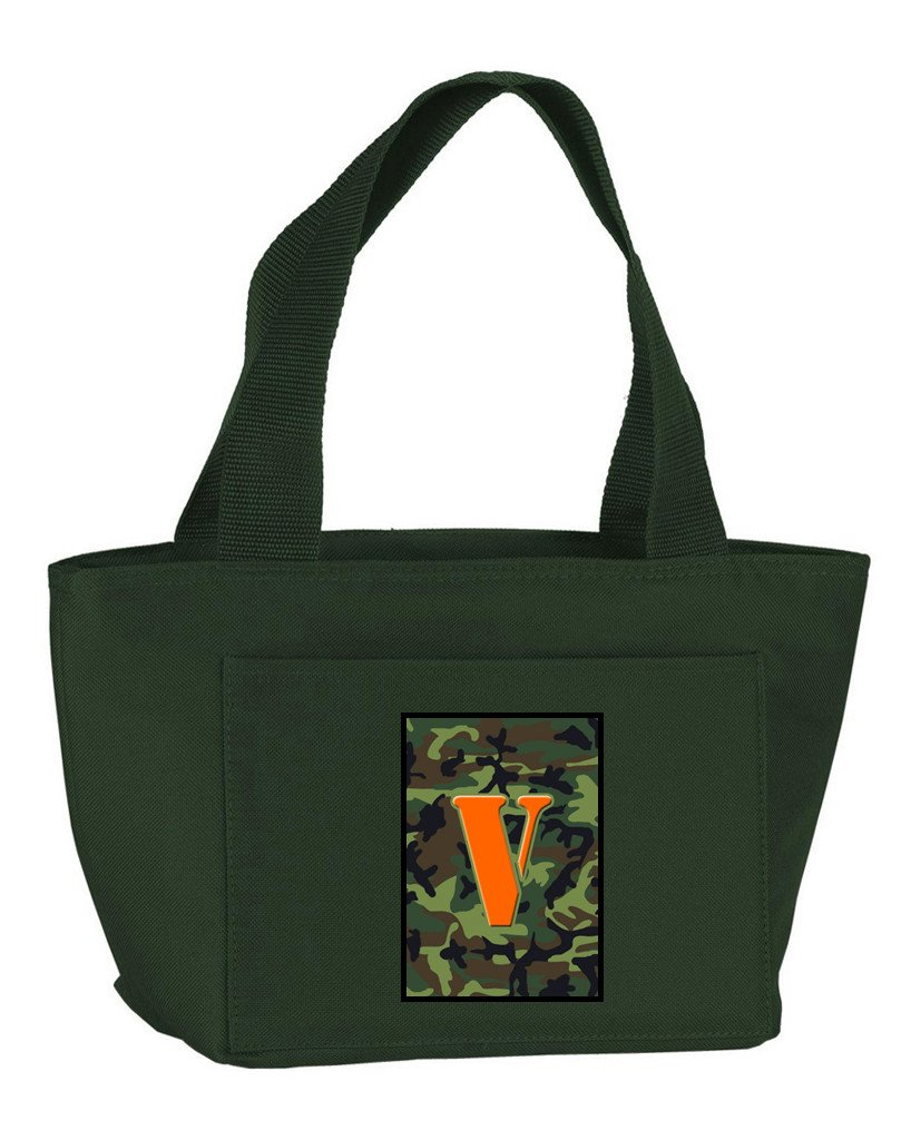 Buy this Letter V Monogram - Camo Green Zippered Insulated School Washable and Stylish Lunch Bag Cooler CJ1030-V-GN-8808