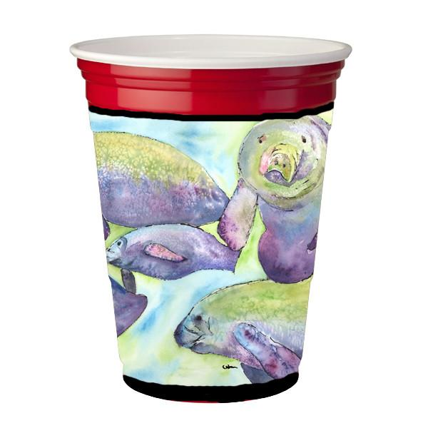 Manatee  Red Solo Cup Beverage Insulator Hugger by Caroline's Treasures