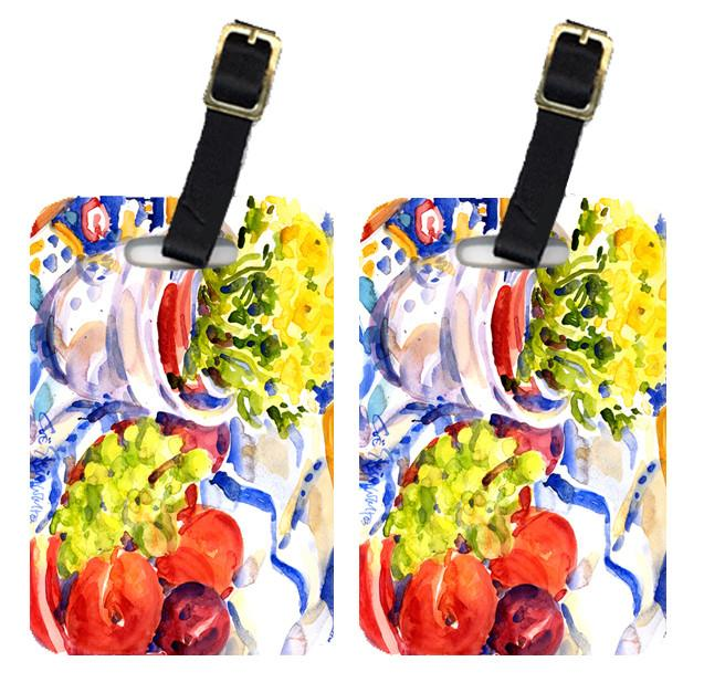 Pair of 2 Apples, Plums and Grapes with Flowers Luggage Tags by Caroline's Treasures