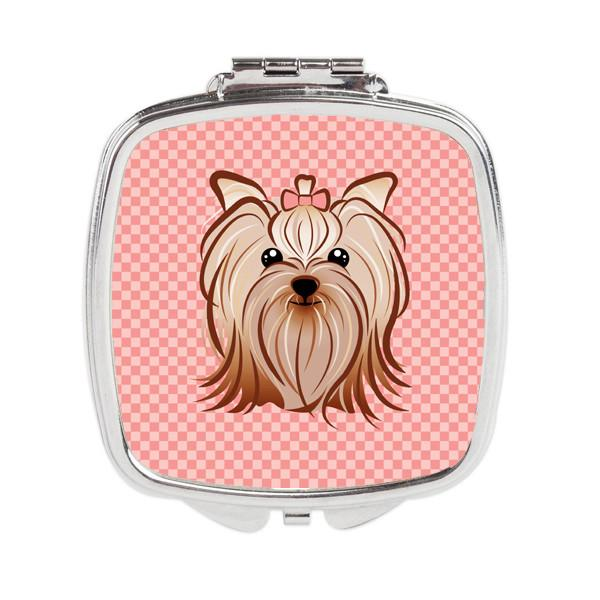 Pink Checkered Yorkie / Yorkshire Terrier Compact Mirror BB1138SCM by Caroline's Treasures