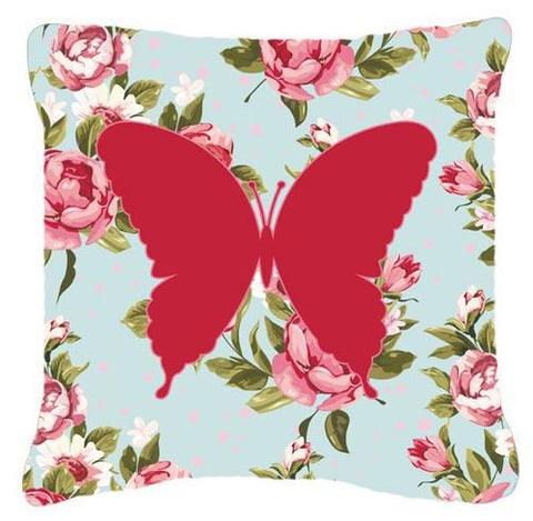 Buy this Butterfly Shabby Chic Blue Roses   Canvas Fabric Decorative Pillow BB1048