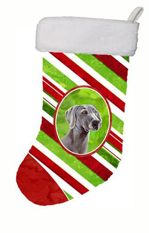 Buy this Weimaraner Candy Cane Holiday Christmas Christmas Stocking LH9251
