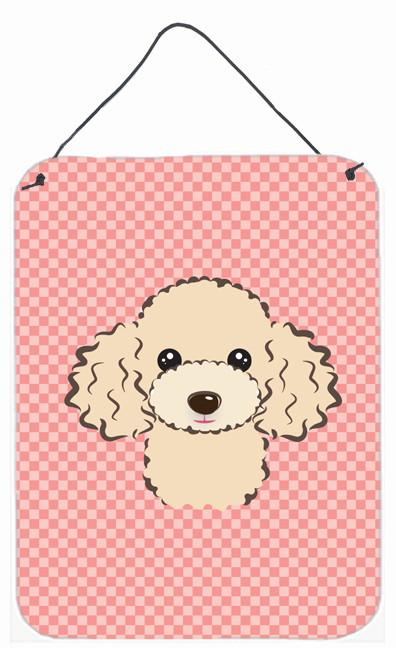 Checkerboard Pink Buff Poodle Wall or Door Hanging Prints BB1258DS1216 by Caroline's Treasures