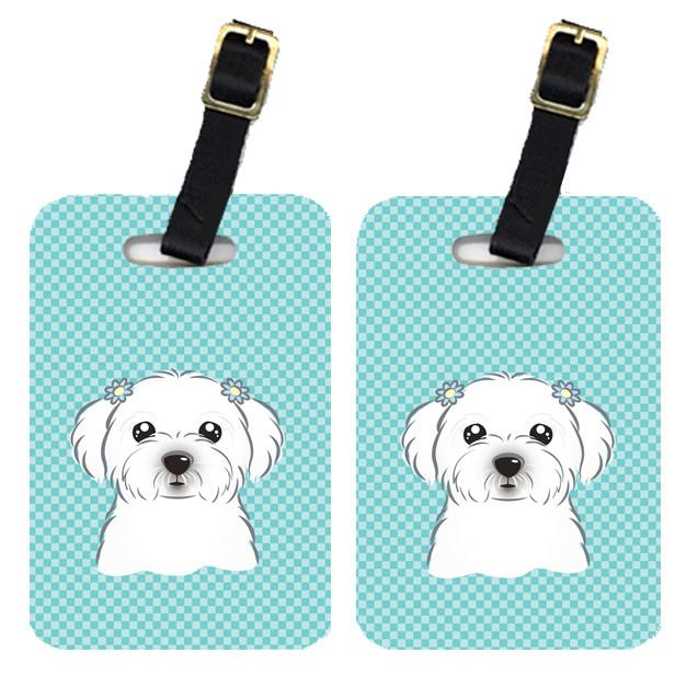 Pair of Checkerboard Blue Maltese Luggage Tags BB1146BT by Caroline's Treasures