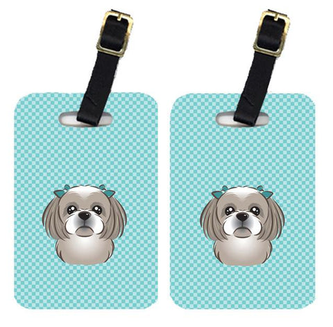 Buy this Pair of Checkerboard Blue Gray Silver Shih Tzu Luggage Tags BB1188BT