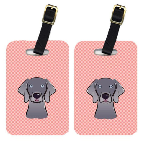Buy this Pair of Checkerboard Blue Weimaraner Luggage Tags BB1231BT