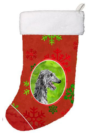 Buy this Scottish Deerhound Red Snowflakes Holiday Christmas Stocking SC9765-CS