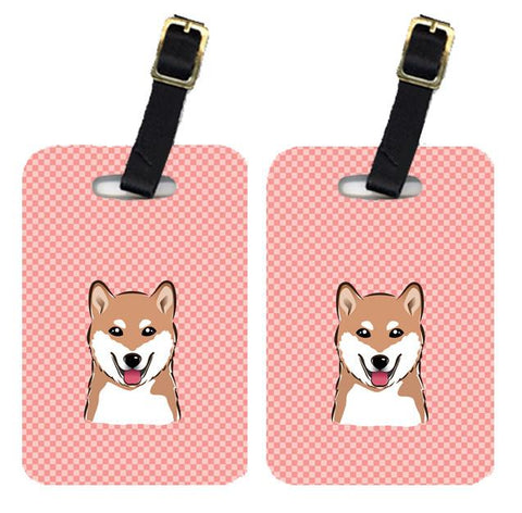 Buy this Pair of Checkerboard Pink Shiba Inu Luggage Tags BB1225BT